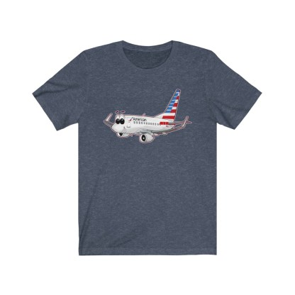 airplaneTees American Airlines Smiley 737 Tee... Unisex Jersey Short Sleeve 9