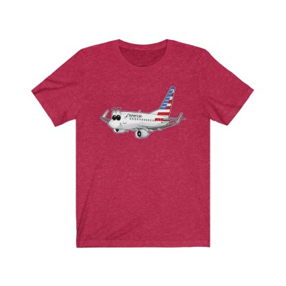airplaneTees American Airlines Smiley 737 Tee... Unisex Jersey Short Sleeve 13