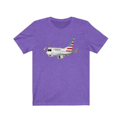 airplaneTees American Airlines Smiley 737 Tee... Unisex Jersey Short Sleeve 11