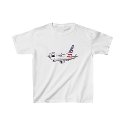 airplaneTees American Airlines Smiley 737 Youth Tee... Kids Heavy Cotton™ 2