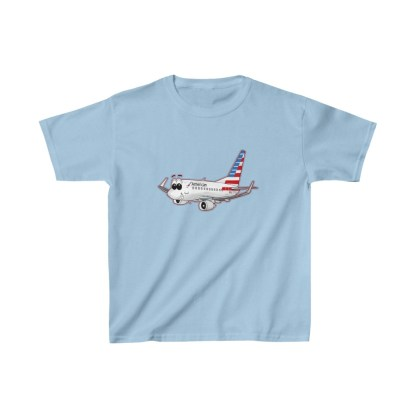 airplaneTees American Airlines Smiley 737 Youth Tee... Kids Heavy Cotton™ 9