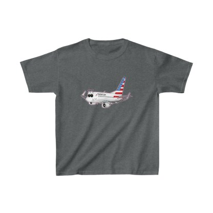 airplaneTees American Airlines Smiley 737 Youth Tee... Kids Heavy Cotton™ 8