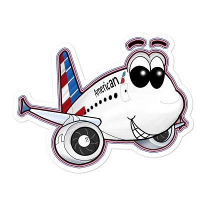 airplaneTees American Airbus Smiley Stickers... Bubble-free 1