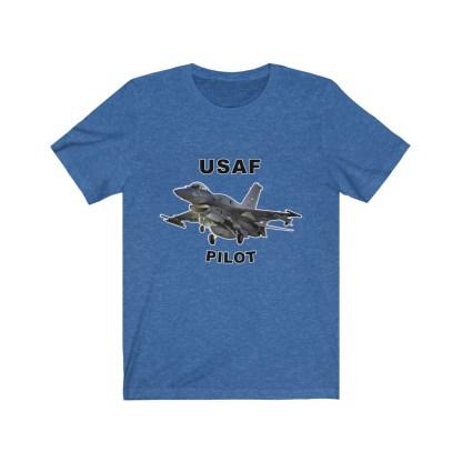 airplaneTees USAF Pilot Tee F16 - Unisex Jersey Short Sleeve Tee 1