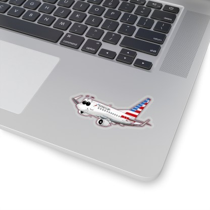 airplaneTees American Airlines 737 Smiles Kiss-Cut Sticker 8