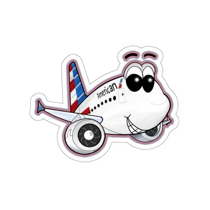 airplaneTees American Airbus Smiley Stickers - Kiss-Cut 3