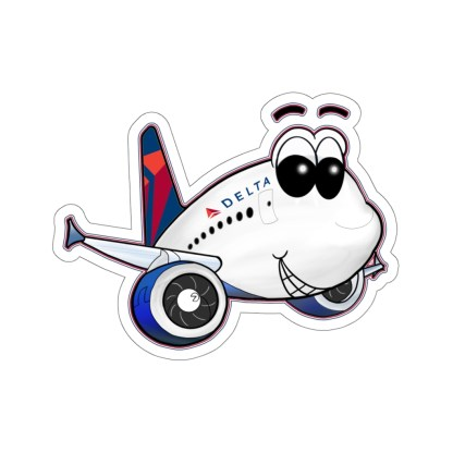 airplaneTees Delta Smiley Airbus Stickers - Kiss-Cut 15