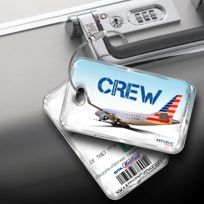 airplaneTees Republic Airline E170 American Eagle Luggage Tag 5