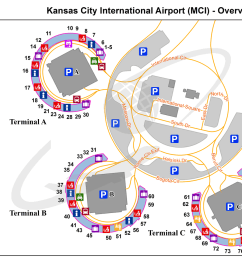 kansas city international airport kmci mci airport guide mli airport diagram [ 1400 x 958 Pixel ]