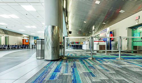 airports use decorative flooring to
