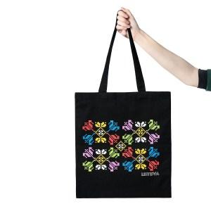 Juodas medžiaginis maišelis TULPĖS. LIETUVA