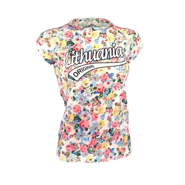 Balti mot. gėlėti marškinėliai LITHUANIA ORIGINAL