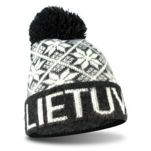 Trumpa žieminė kepurė su bumbulu LIETUVA