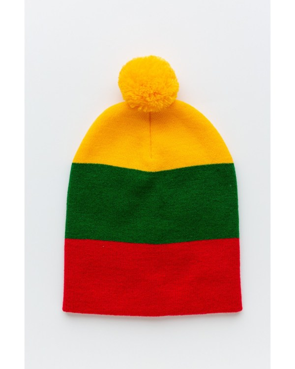 Trispalvė kepurė su bumbulu