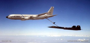 SR-71A #61-7952 during the first ever in-flight refuelling of an SR-71, on 29April1965. Lockheed photo via Tony Landis