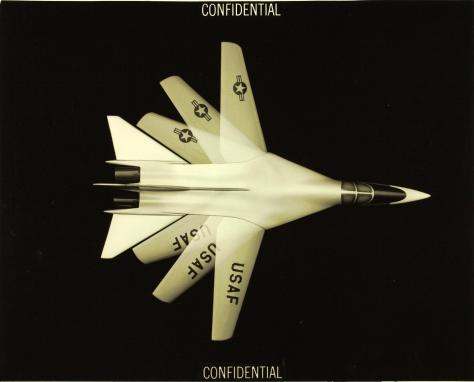 A General Dynamics concept illustration, showing the variable wing geometry for their TFX (Tactical Fighter Experimental) proposal that would become the F-111 (Photo SDASM Cat # 10_0012084)
