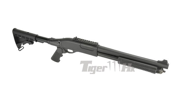 Golden Eagle M870 Gas Pump Action Shotgun with A2 style