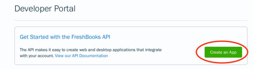 screen shot of FreshBooks' Developer Portal