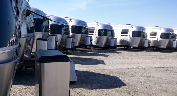 row of new airstreams