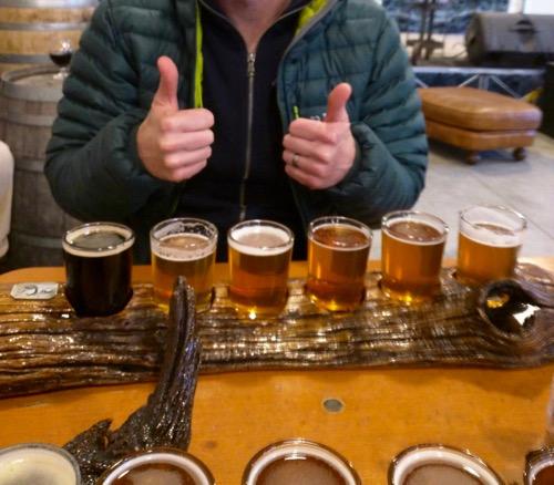 tasting flight at parkway brewing co