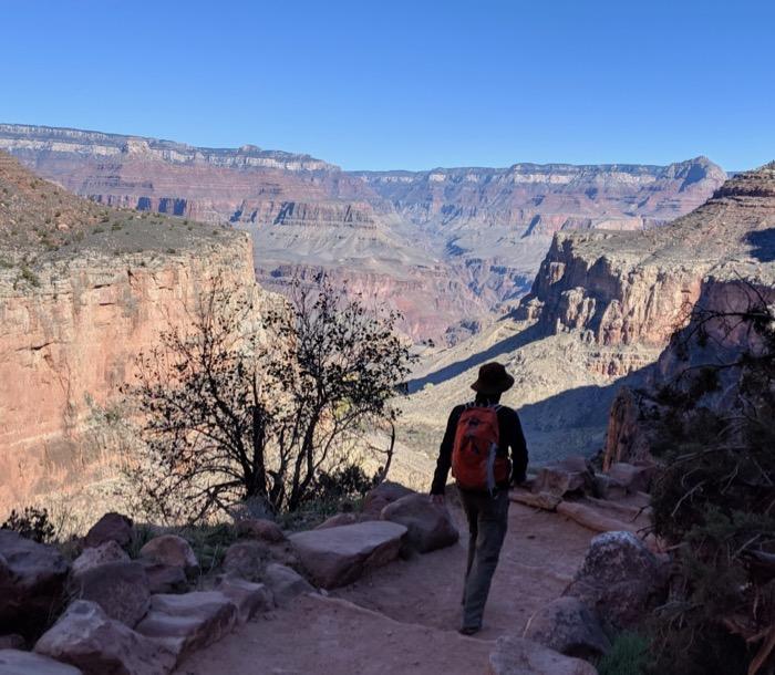 hiking down Bright Angel, Grand Canyon