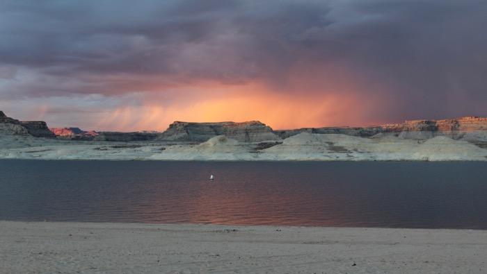 lone rock beach sunset
