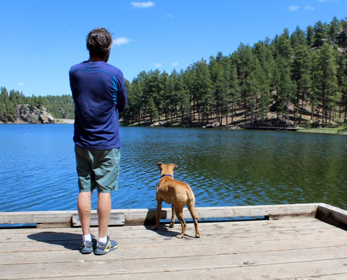 horse thief lake with dog