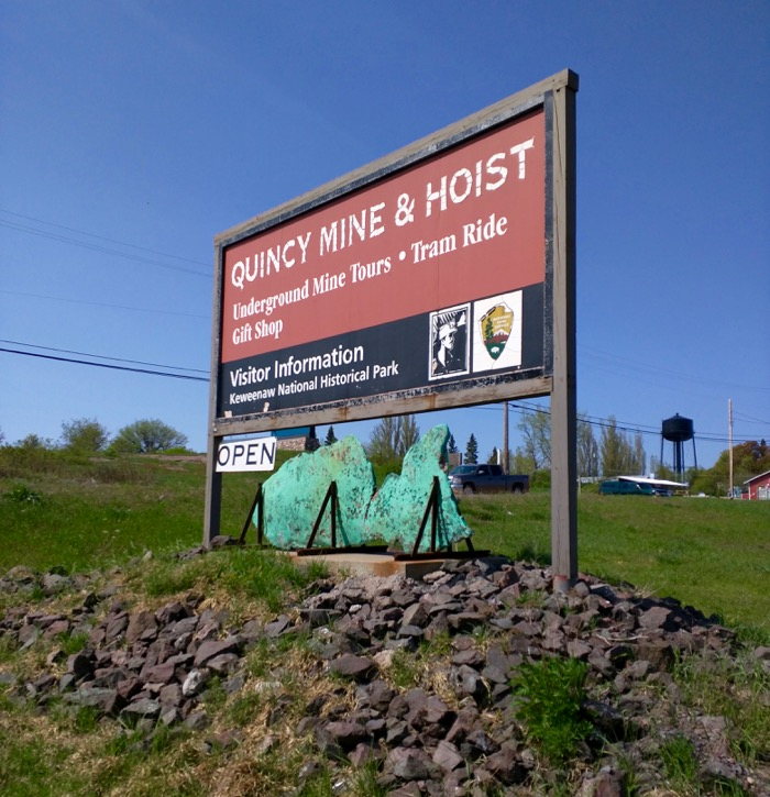 quincy mine and hoist sign