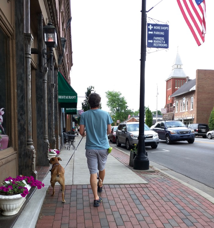 bugsy walking down street in bardstown