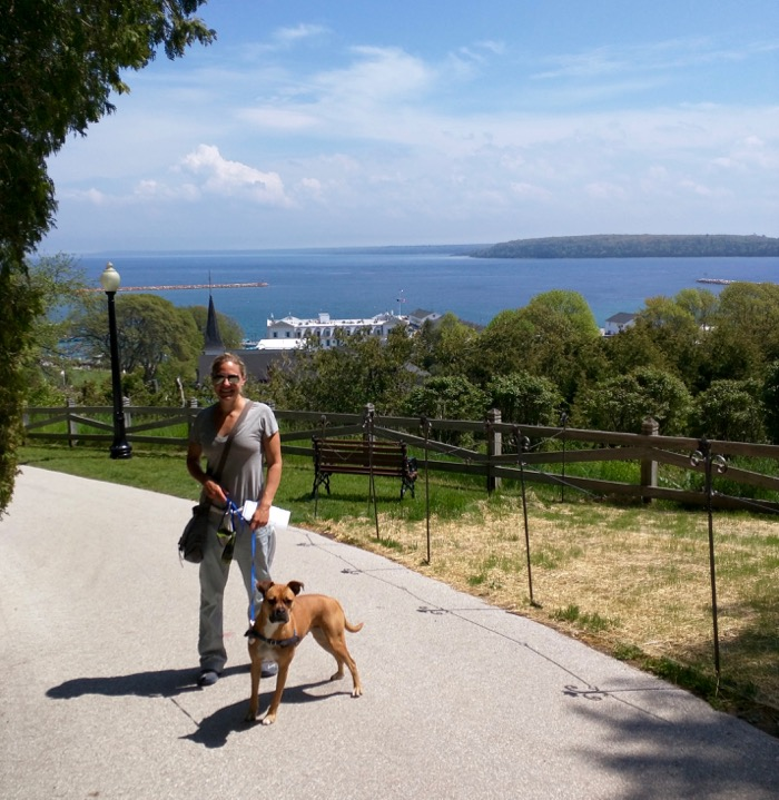 walking the dog on mackinac island