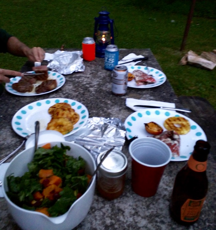 grill dinner at julian price campground
