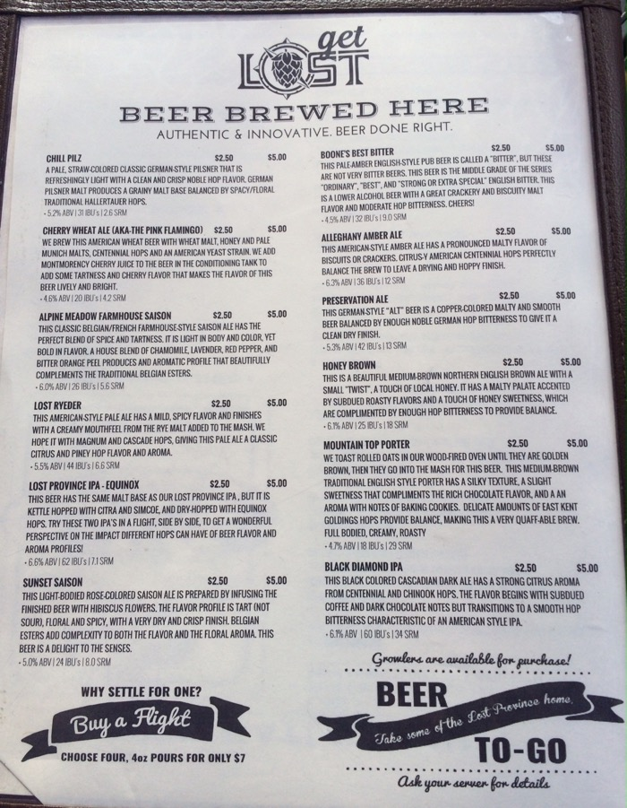 lost province beer list