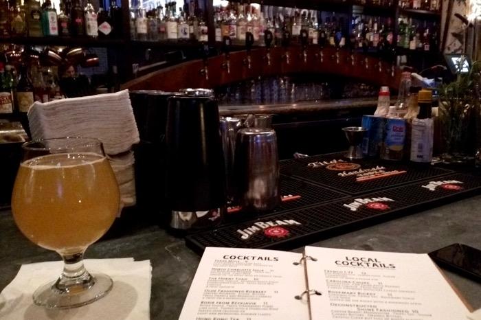 beer at the bar at heist brewing