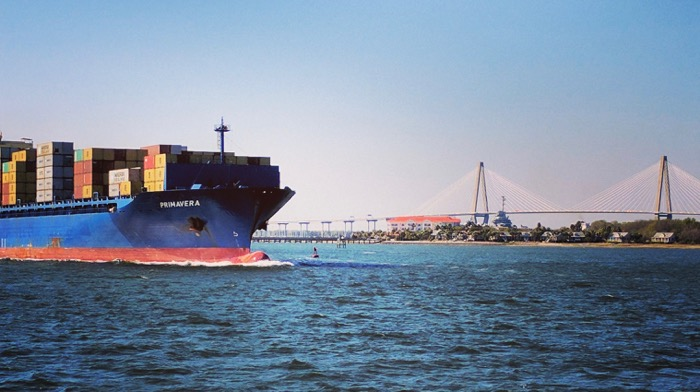 container ship and cooper river bridge