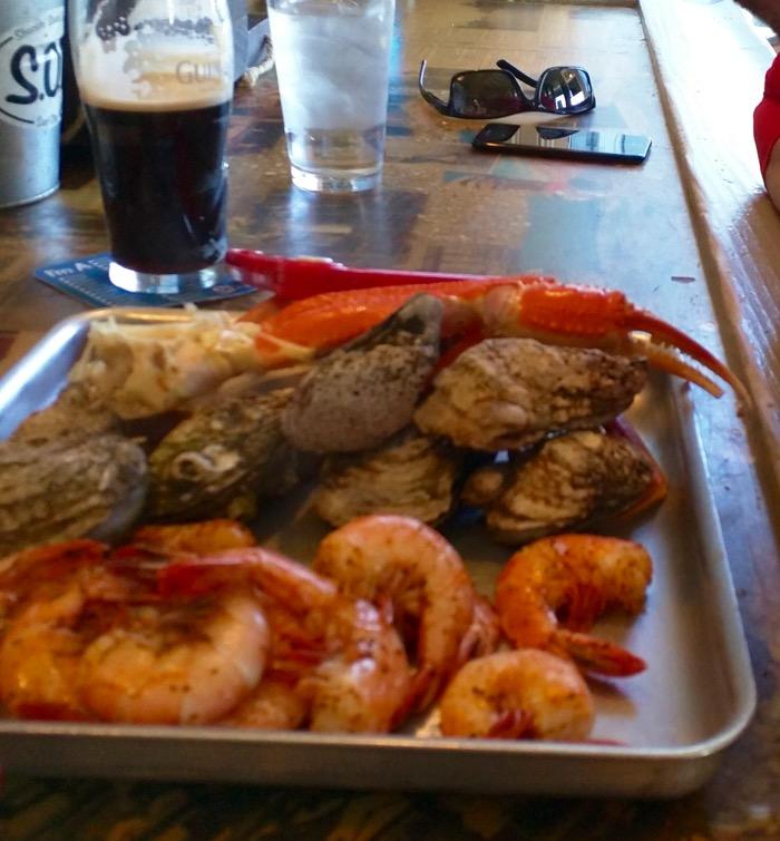 seafood platter at shuckin shack