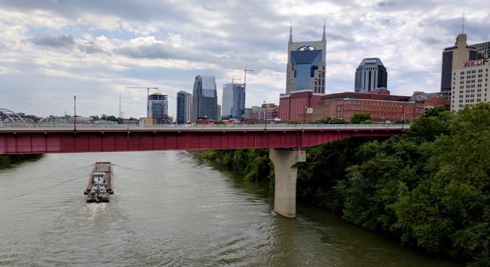 Nashville downtown skyline over the river