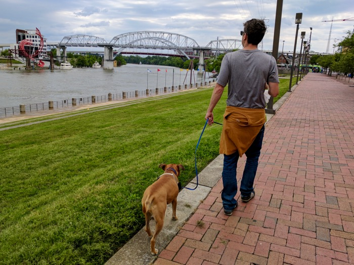 walking by the river in Nashville