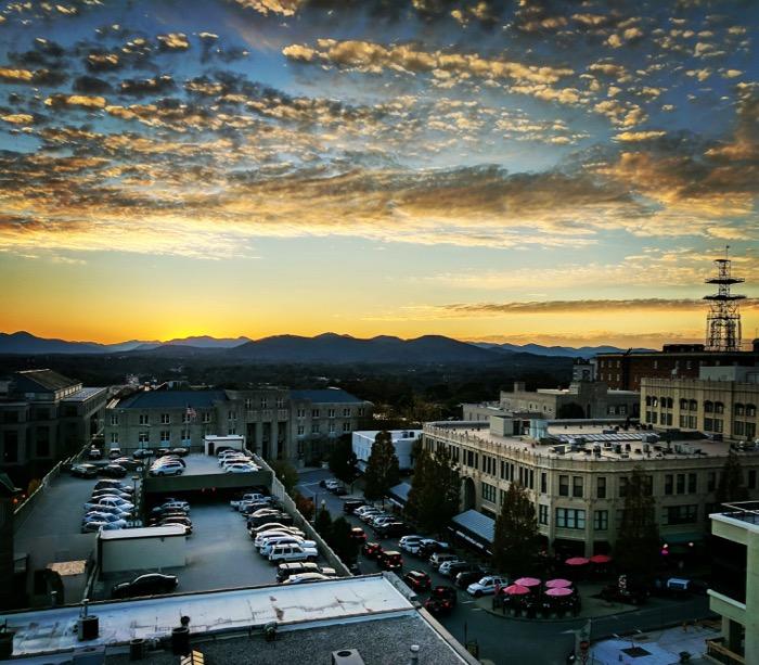 asheville rooftop sunset