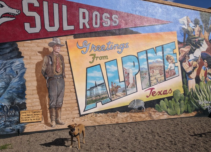 Bugsy and a mural in Alpine