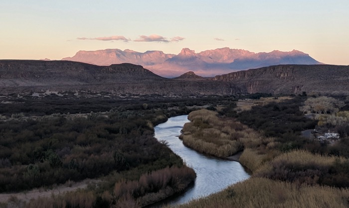 sunset over rio grand big bend