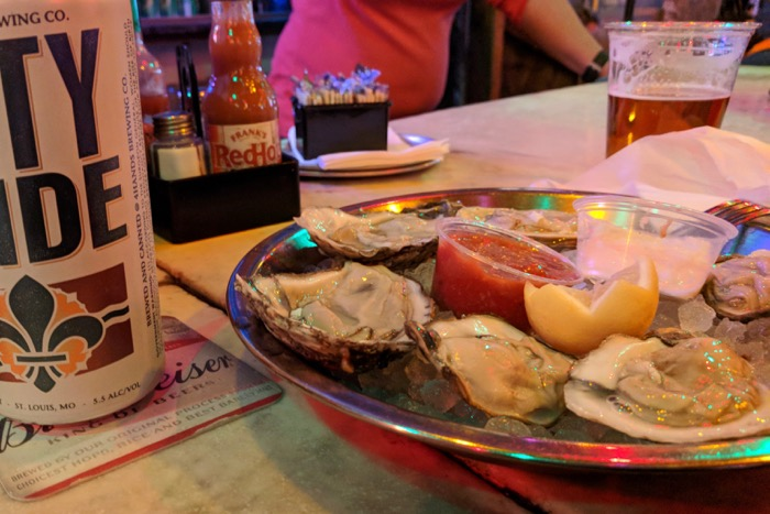 oysters and beer at Broadway Oyster