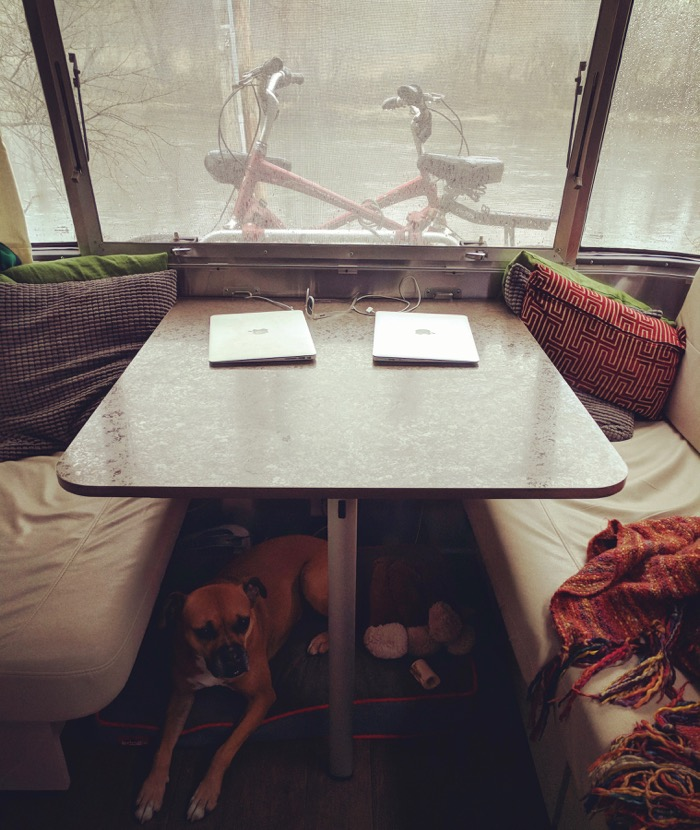 airstream dinette by french broad river in asheville