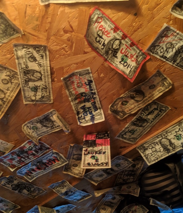dollars on the ceiling at harry's tinaja alpine