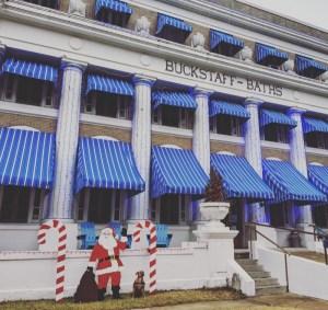 bugsy and santa at buckstaff bathhouse