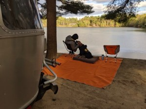 waterfront campsite at Wassamki Springs Campground