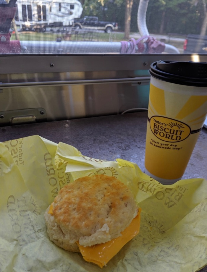 Biscuit World coffee and biscuit in the Airstream