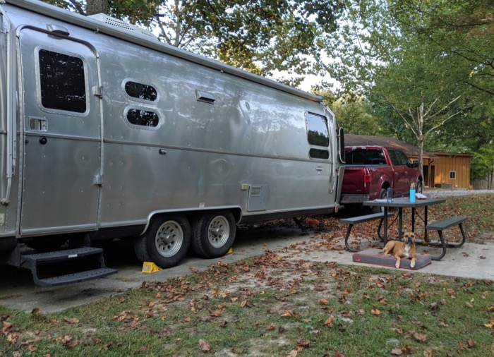 the Airstream at Rifrafters Campground in Fayetteville