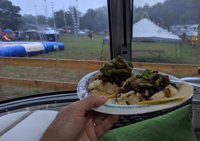 fish tacos in the airstream at the misty mountain music festival