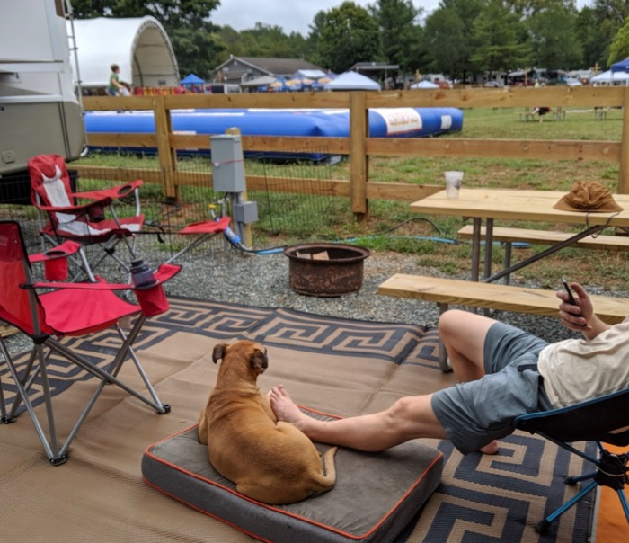 relaxing at our campsite at the misty mountain music festival