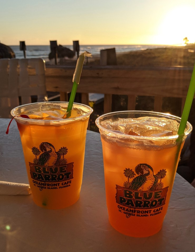 sunset beachfront cocktails at Blue Parrot